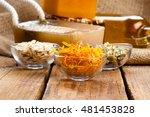 marigolds herb soap. natural... | Shutterstock . vector #481453828
