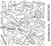 bathroom beauty objects doodle... | Shutterstock .eps vector #481454740
