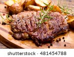 grilled meat with rosemary on... | Shutterstock . vector #481454788