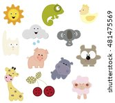 set of patches with the animals ... | Shutterstock .eps vector #481475569