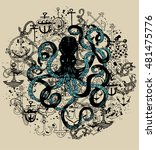 hand drawn octopus and anchors...   Shutterstock .eps vector #481475776