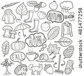 fall season autumn doodle icons ... | Shutterstock .eps vector #481477258