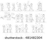 love story set of young men and ... | Shutterstock . vector #481482304