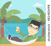 an asian young man chilling in... | Shutterstock .eps vector #481483498