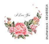 beautiful watercolor card with...   Shutterstock . vector #481485814
