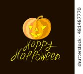 pumpkin on a black background... | Shutterstock .eps vector #481487770