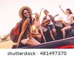 enjoying road trip with best... | Shutterstock . vector #481497370