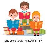 group of children reading... | Shutterstock .eps vector #481498489
