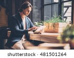 working just from cafe....   Shutterstock . vector #481501264