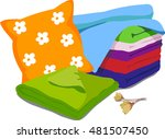 color bed linen. pillows ... | Shutterstock .eps vector #481507450