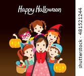 children happy halloween... | Shutterstock .eps vector #481521244
