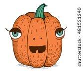 cartoon halloween pumpkin.... | Shutterstock .eps vector #481521340