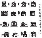 set cottage icons. black... | Shutterstock .eps vector #481562818