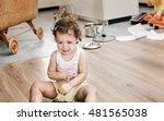 naughty little child sitting on