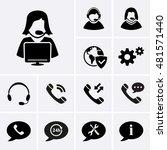 telemarketing icons. hotline... | Shutterstock .eps vector #481571440