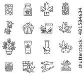 medical marijuana icons set.... | Shutterstock .eps vector #481584634