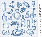 hand drawn food objects | Shutterstock .eps vector #481584898