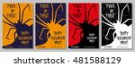 set of halloween flyers on... | Shutterstock .eps vector #481588129