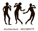 black singing people... | Shutterstock .eps vector #481588579