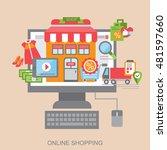 flat concept. online shopping.... | Shutterstock .eps vector #481597660