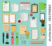 collection of vector notebooks... | Shutterstock .eps vector #481598860
