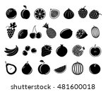 black fruit icons. set of fruit ... | Shutterstock .eps vector #481600018