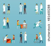 medical staff flat vector icons.... | Shutterstock .eps vector #481600288