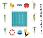 swimming activity flat icons.... | Shutterstock .eps vector #481600294