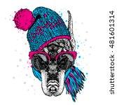 beautiful doberman in a hat ... | Shutterstock .eps vector #481601314