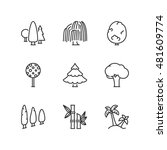 thin line icons set about trees.... | Shutterstock .eps vector #481609774