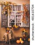 Autumn Decorated Patio. Vintag...