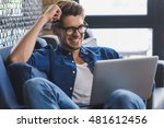 freelancer resting after he did ... | Shutterstock . vector #481612456