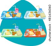 school lunch tray with food.... | Shutterstock .eps vector #481636060