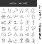 christmas and winter line icons ... | Shutterstock .eps vector #481654744