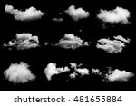 set of isolated clouds on black ... | Shutterstock . vector #481655884