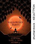 halloween party flyer. vector... | Shutterstock .eps vector #481677934