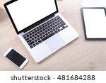mock up screen smartphone ... | Shutterstock . vector #481684288