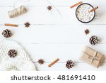 christmas composition. hot... | Shutterstock . vector #481691410