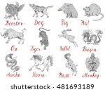 astrology set with drawings of... | Shutterstock . vector #481693189
