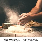 man preparing bread dough on... | Shutterstock . vector #481696696