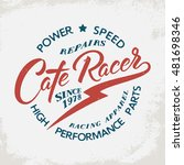 cafe racer. motorcycle signs on ... | Shutterstock .eps vector #481698346