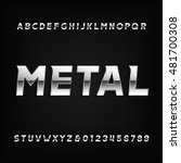 metal alphabet font. chrome... | Shutterstock .eps vector #481700308
