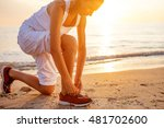 caucasian woman jogging at... | Shutterstock . vector #481702600