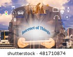 Small photo of Internet of thing concept. Double exposure of man holding digital tablet with smart things sign and city.