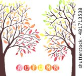 autumn trees with falling down... | Shutterstock .eps vector #481713538