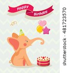 happy birthday card with cute... | Shutterstock .eps vector #481723570
