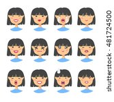set of emotional asian... | Shutterstock .eps vector #481724500