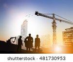 silhouette engineer looking at... | Shutterstock . vector #481730953