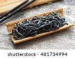 charcoal black noodles | Shutterstock . vector #481734994