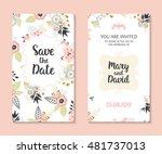 wedding set. romantic vector... | Shutterstock .eps vector #481737013